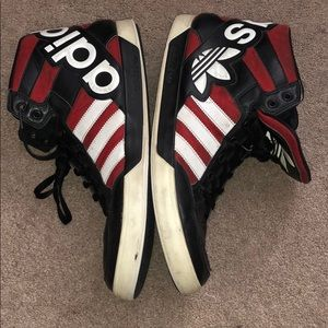 adidas Shoes - ADIDAS Hightop red black white three stripe life
